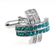 Teal Green & Diamond Swarovski® Crystal Cufflinks (V-CF-C526GR)
