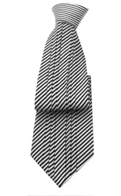 Antonio Ricci Vertical Pleated 100% Silk Tie - Black Stripe