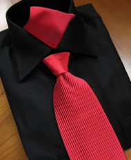 Antonio Ricci Satin Microfiber Diagonal Pleated Tie with Pocket Square - Red
