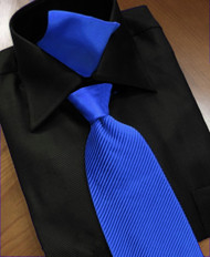 Antonio Ricci Satin Microfiber Diagonal Pleated Tie with Pocket Square - Royal