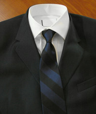 Parquet 100% Silk Navy and Black Stripe Necktie