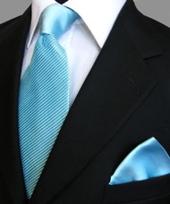 Antonio Ricci Satin Microfiber Diagonal Pleated Tie with Pocket Square - Turquoise