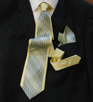 Antonio Ricci 100% Silk Woven Tie - Yellow Border Design