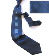 Antonio Ricci 100% Silk Woven Tie - Blue Retro Block Design