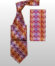 Antonio Ricci 100% Silk Woven Tie - Abstract Chain Design