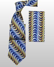 Antonio Ricci 100% Silk Woven Tie - Blue & Yellow Swirls