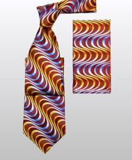 Antonio Ricci 100% Silk Woven Tie - Red & Gold Swirls