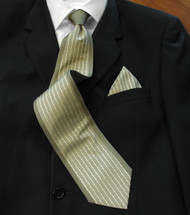 Antonio Ricci 100% Silk Woven Tie - Olive Border Design