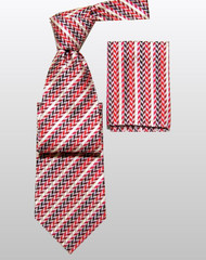 Antonio Ricci 100% Silk Woven Tie - Red Arrow & Stripe Weave