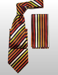 Antonio Ricci 100% Silk Woven Tie - Orange Diagonal Stripes