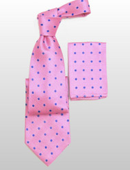 Antonio Ricci 100% Silk Woven Tie - Pink with Blue Dots