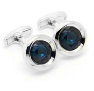 Blue Circle Swarovski® Crystal Cufflinks (V-CF-C52119-BL)