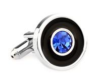 Blue Crystal in a Black Circle Cufflinks (V-CF-C5906BL)