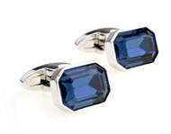 Blue Emerald Cut Swarovski® Crystal Cufflinks (V-CF-C505BL)