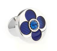 Blue Enamel with Blue Swarovski® Crystal Cufflinks (V-CF-E51205BL-B)