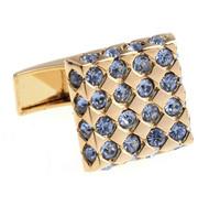 Blue Faceted Swarovski® Crystal Cufflinks in Gold (V-CF-M0001-G)