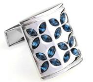 Blue Faceted Swarovski® Crystal Flower Cufflinks (V-CF-C805BL)