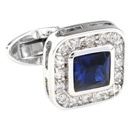 Blue Square Center Swarovski® Crystal in Cufflinks (V-CF-C908BL-S)