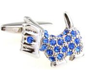 Blue Swarovski® Crystal Scotty Terrier Dog Cufflinks (V-CF-C623BL)