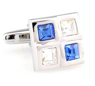 Four Square Blue & Diamond Crystals Cufflinks (V-CF-C61385BLW-S)