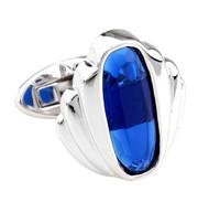 Large Blue Oval Swarovski® Crystal Cufflinks (V-CF-C814BL-S)