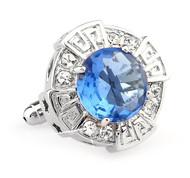 Oversized Light Blue Faceted Crystal Cufflinks (V-CF-C64110LB)