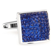 Royal Blue Raised Rhinestone Cufflinks (V-CF-C65319BL-S)