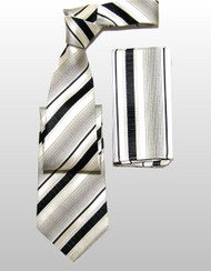 Antonio Ricci 100% Silk Woven Tie - Black Stripes on Cream