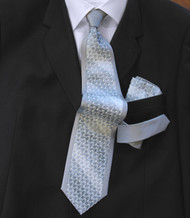 Antonio Ricci 100% Silk Woven Tie - Smokey Blue Border Design
