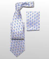 Antonio Ricci 100% Silk Woven Tie - Blue Weave Pattern