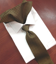 Antonio Ricci 100% Silk Woven Tie & Pocket Square - Bronze with Black Dots