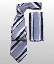 Antonio Ricci 100% Silk Woven Tie - Blue Tone Stripes