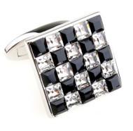 Black & Diamond Square in Square Swarovski® Crystal Cufflinks (V-CF-C5530C-S)
