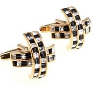 Black & Diamond Swarovski® Crystal Cufflinks (V-CF-C510BC-G)