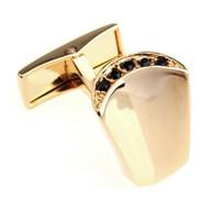 Black Crystal Crest Gold Cufflinks (V-CF-C430B-G)