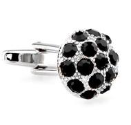 Black Crystal Dome Cufflinks (V-CF-C60192B)
