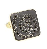 Black Spiral Swarovski® Crystal Design Gold Cufflinks (V-CF-C710BB-G)