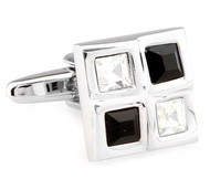 Four Square Black & Diamond Crystals Cufflinks (V-CF-C61385BW-S)