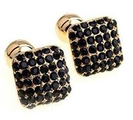 Gold with Black Swarovski® Crystals Cufflinks (V-CF-C604B-G)
