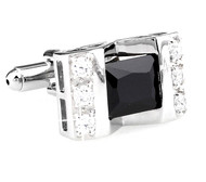 Large Princess Cut Black-Colored Crystal Cufflinks (V-CF-C64308B-S)