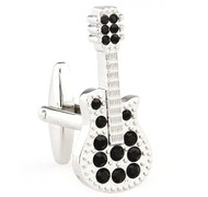 Large Silver Guitar with Black Crystals Cufflinks (V-CF-C64933B-S)