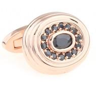 Luxury Black Swarovski® Crystal Rose Gold Oval Cufflinks (V-CF-C6912B-RG)