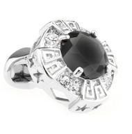 Oversized Black Faceted Crystal Cufflinks (V-CF-C64110B)