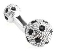 Small Silver with Black Swarovski® Crystals Dual Ball Cufflinks (V-CF-C509B-S)