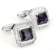 Amethyst with Diamond Swarovski® Crystals Cufflinks (V-CF-C1780PR)