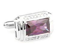 Large Purple Crystal and Diamond Crystal Silver Cufflinks (V-CF-C67264PR)