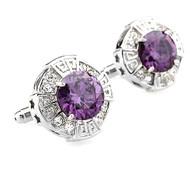 Oversized Purple Faceted Crystal Cufflinks (V-CF-C64110PR)