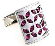 Purple Faceted Swarovski® Crystal Flower Cufflinks (V-CF-C805PR)