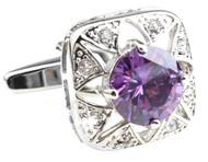 Purple Round Center Swarovski® Crystal Starburst Cufflinks (V-CF-C519-PR)