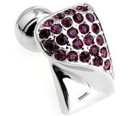 Raspberry-Colored Swarovski® Crystal & Silver Cufflinks (V-CF-C603PR-S)